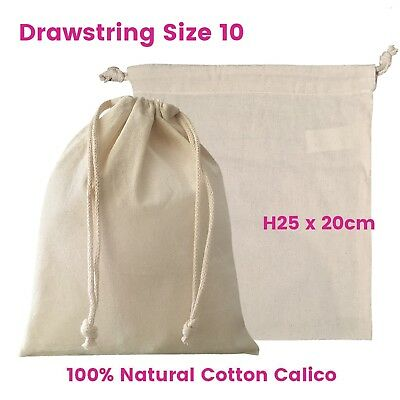 Calico Bag Drawstring Bulk Calico Bags Eco Bags Natural Bags S10 H25 x W20cm
