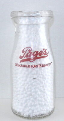 Pages Dairy DEMANDED FOR ITS QUALITY Half Pint Red Pyro MILK BOTTLE Toledo OH