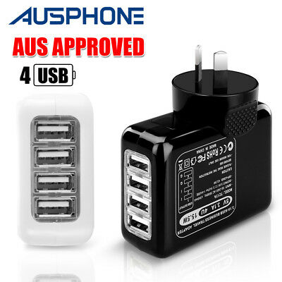 4 USB AC Wall Adapter Plug Charger For iPhone XS 8+ iPad Samsung S9+ Note 10 9