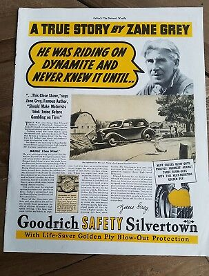 1937 Goodrich safety Silvertown tires author Zane Grey true story ad