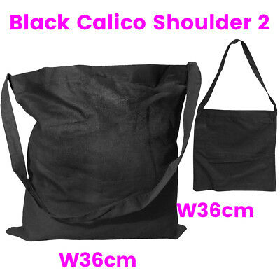 Black Shoulder Calico Bag Bulk Library Calico Bags S2 H36 x W36cm Bag Lots 1-200