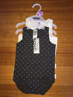 Baby BONDS 2 pack bodysuits spots and plain  BNWT RRP $22.95 size 0000 - 2