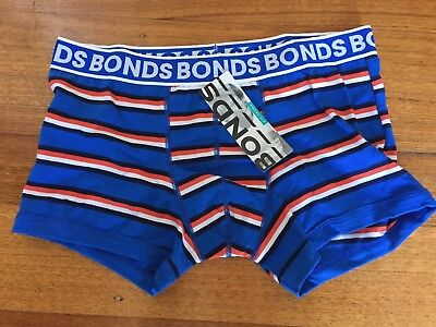 BONDS Boys FIT Trunk BNWT RRP $14.95 blue stripe Size 10/12 - 14/16