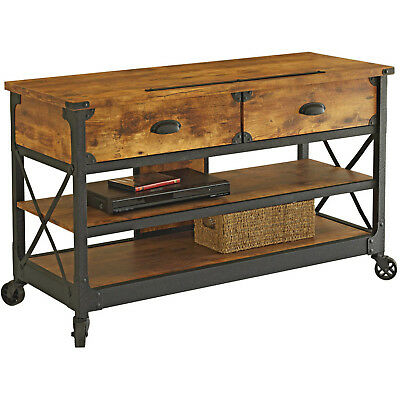 Industrial Tv Stand Distressed Wood Metal Sofa Console Table