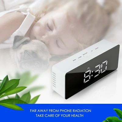 Mirror LED Digital Display Snooze Alarm Clock Time Temperature Night Mode #t