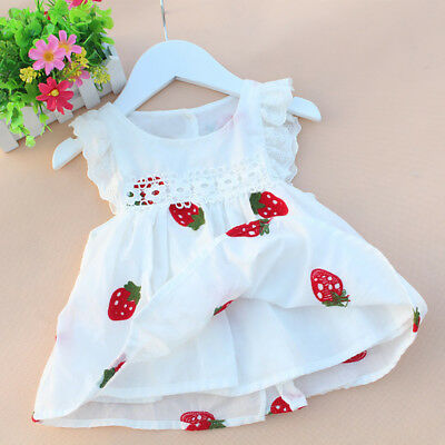 Summer Baby Girls Dresses Floral Strawberry Embroidery Sleeveless Kids Clothes