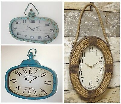 Wall Hanging Clocks Vintage Industrial Style Rustic Metal Oval Quartz Movement