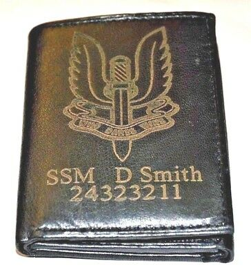 Sas Uk Army Personalised Genuine Leather Wallet With Any Name & No.