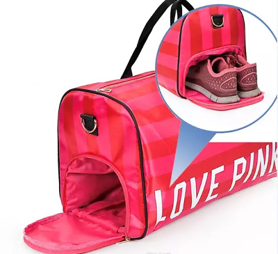 PINK Gym Duffel Bag School Holdall Shoe Overnight Victoria Victoria's Secret NEW