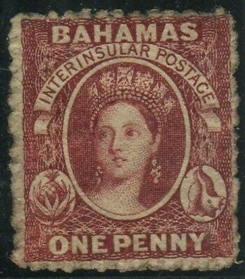 BAHAMAS-1862 1d Lake Perf 13.  A fine mounted mint example with No WMK Sg 17