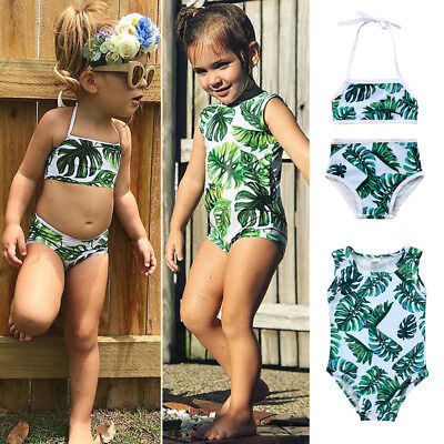 AU Stock Kids Baby Girls Tankini Bikini Swimwear Swimsuit Bathing Suit Beachwear
