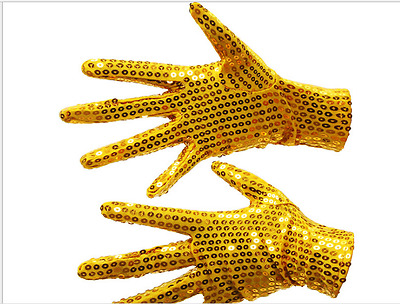 1 Pair Michael Jackson Billie Jean Style Sequin Shinning Chip Gloves Dance Party