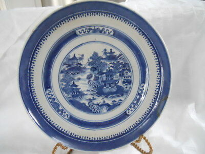ANTIQUE CHINESE EXPORT CANTON Plate STAPLED REPAIR BLUE WHITE