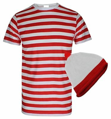 Boys Red And White Stripe Hen Party Shirt Children TShirt Hat Fancy Dress Outfit