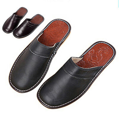 Leather Shoes House Toe Black Solid Men's Winter Closed Uk Slippers Mens Indoor
