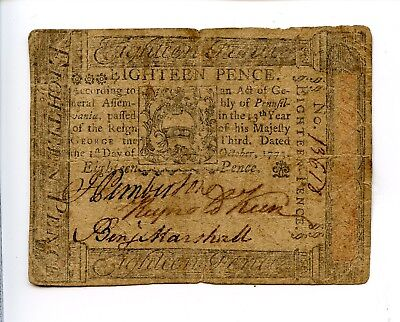 Colonial Currency 3rd October 1773 18 Pence Pennsylvania AA0978