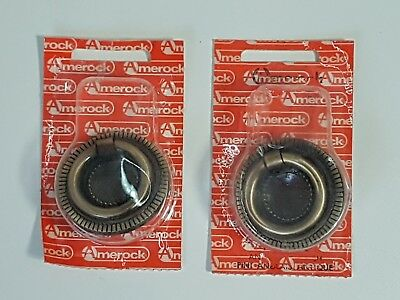 "Amerock One Ring Drawer Pulls Die Cast Antique English 1 3/4"" T-881 NEW Vintage"