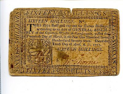 Continental Currency 16 Shillings Pennsylvania April 10 1777 AA0983
