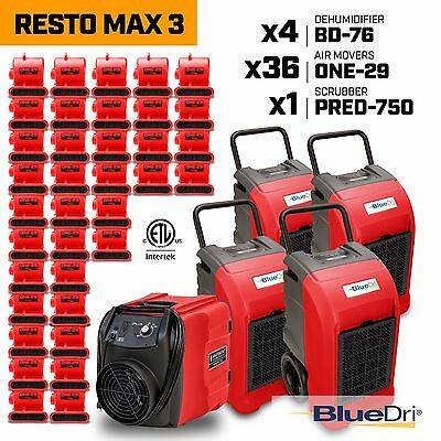 Resto Max 3 | x4 Commercial Dehumidifiers x36 Air Movers x1 Air Scrubber Red