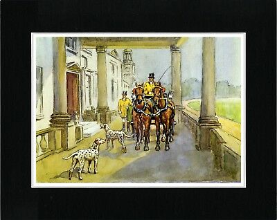 Dalmatian Dogs And Carriage Vintage Style Dog Art Print Matted Ready To Frame