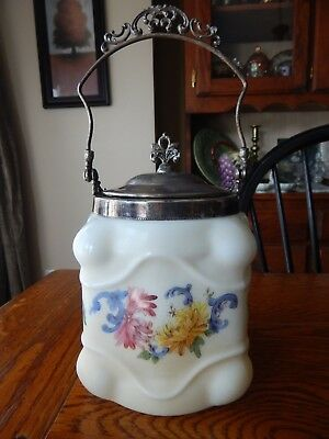 ANTIQUE Wave Crest BISCUIT JAR Floral HAND PAINTED Glass Egg Crate