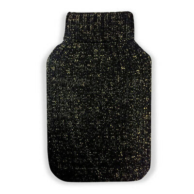 Gold Sparkle 2L Knitted Hot Water Bottle Cover (Winter Bed Warmer Heat Litre)