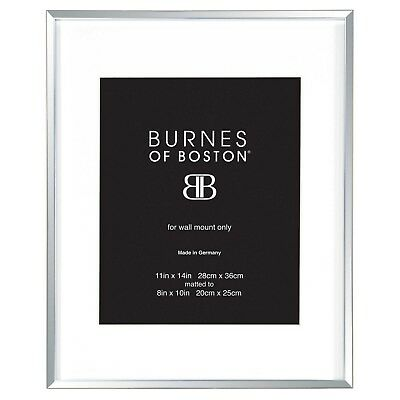 "Silver Picture Frame Burnes of Boston Metal Matted Wall Mount 8x10"" Photo Frame"