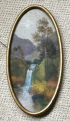 Beautiful antique CIRCA 1910 landscape pastel in an oval frame