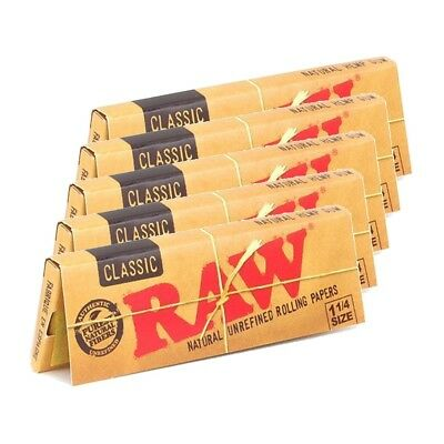 Raw Unrefined Classic 1.25 1 1/4 Size Cigarette Rolling Papers, 5 Packs