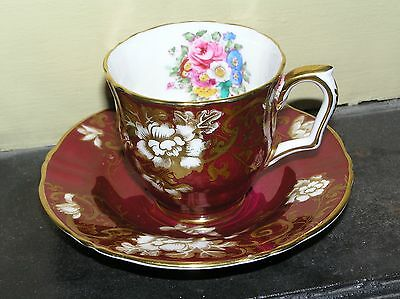 Crown Staffordshire Demitasse burgundy & gold floral cup and saucer - gold trim