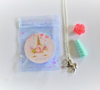 Girls Unicorn gold / silver pendant necklace chain - jewellery in gift set