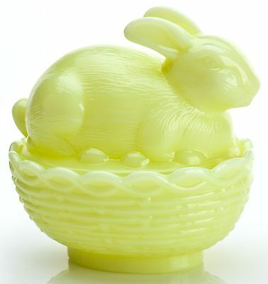 Bunny Rabbit on Basket Covered Dish - Mosser USA - Buttercream Glass