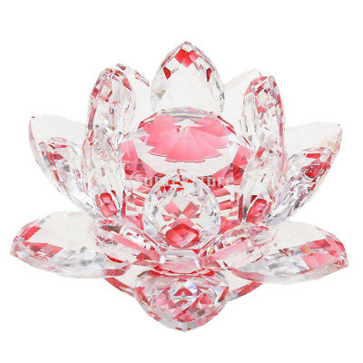 Crystal Lotus Flower Crafts Paperweights Glass Model Feng Shui Decor Red