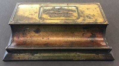 Beautiful Brown Shoe Company Antique Desk Caddy Inkwell Stamp Holder Pen Rest