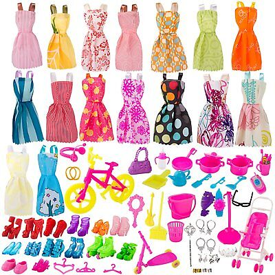 130 Pcs Doll Clothes Huge Lot Gown Outfits & Party Accessories Barbie Girl
