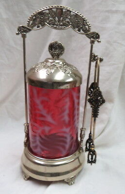 might be Fenton Cranberry Pickle Caster silver frame / white fern pattern / nice