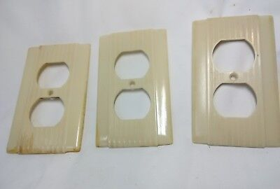 3 Vintage Ivory Color Bakelite Uniline Art Deco Outlet Plate Cover Ribbed Lines