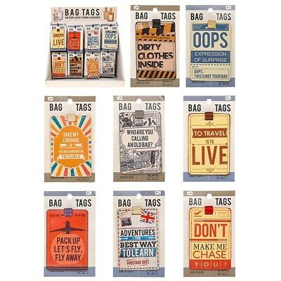 Luggage Bag Tags - 8 Assorted Designs Labels For Baggage And Handbags Suitcase