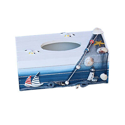 Nautical Wood Tissue Box Cover Tissue Case Sailboat Lighthouse Seagull Shell