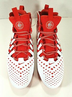 Nike Huarache V 5 LAX Mid Lacrosse Cleats Men's Size 12 Red & White 807142-611