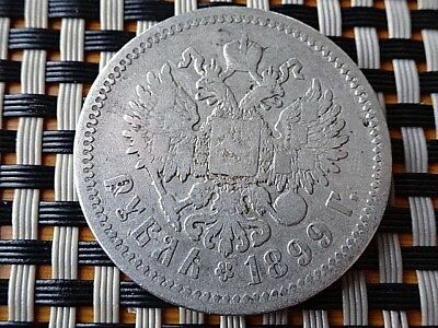 Russia Empire - Silver 1 Rouble 1899 Nicholas Ii Very Rare Coin