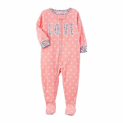 Carter's Pink Baby Girls One Piece Fleece Footed Pajama - Polka Dot Love Sleeper