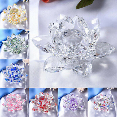 """4"""" Clear Crystal Lotus Flower with Gift Box Feng Shui Ornament Wedding Decor"""