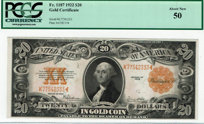 1922  $20  (Fr1187)  Gold Certificate,   PCGS 50- About New