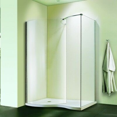 1400x900mm Walk In Shower Enclosure Curved Glass Screen Side Panel Stone Tray V9