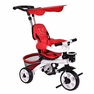 4-In-1 Baby Tricycle Steer Stroller Detachable Learning Bike w/ Canopy Basket