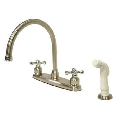 Kingston Brass Vintage Double Handle Goose Neck Kitchen Faucet with White Spraye