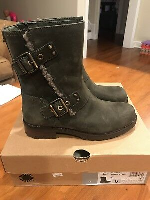 c79a896b257 UGG 1018607 Niels Slate Leather Water Resistant Moto Boots Women's Size 6
