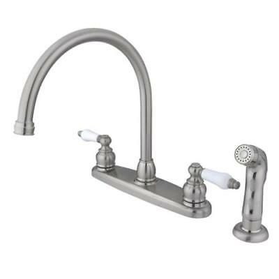 Kingston Brass Vintage Double Handle Goose Neck Kitchen Faucet with Sprayer, KB7