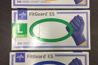Medline Fitguard ES 250 Powder Free Exam Gloves New Size Large